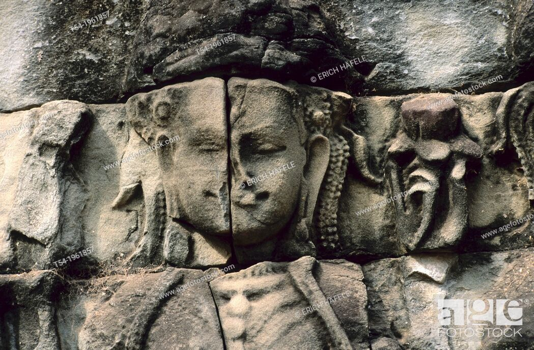 Stock Photo: Fresco of a Buddha with evil in Angkor Wat.