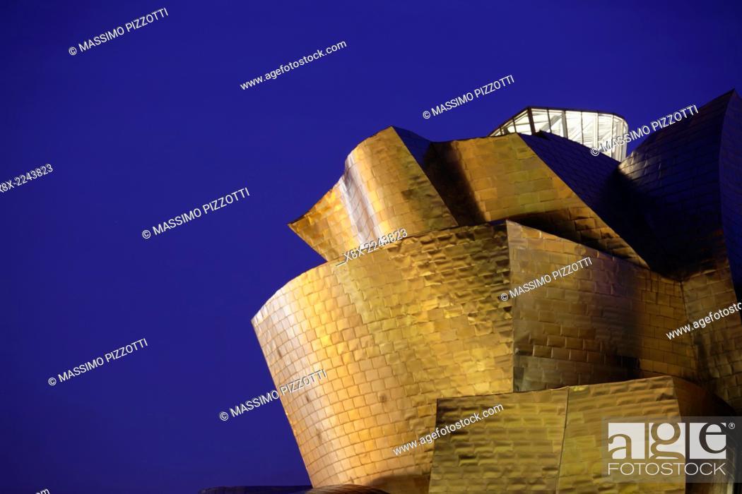Stock Photo: Detail of the modern Guggenheim Museum, Bilbao, Spain.
