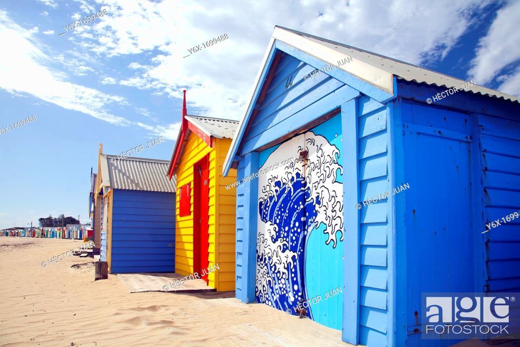 Stock Photo: Brighton Beach Colourful Huts.