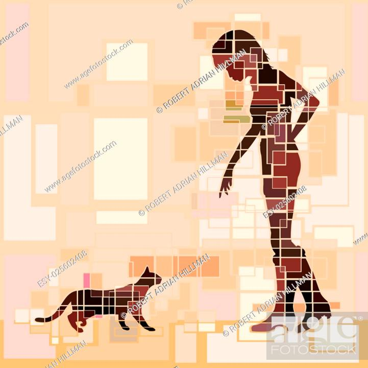 Stock Vector: Editable vector design of a woman and cat approaching each other.