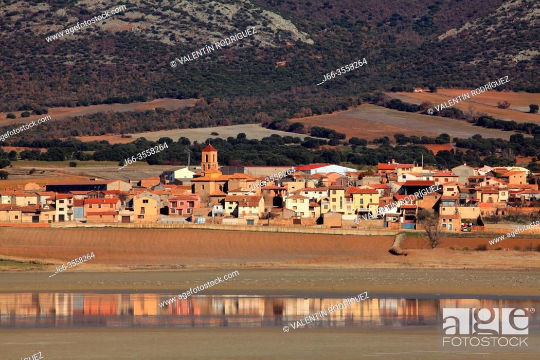 Stock Photo: Gallocanta wildlife reserve. Gallocanta village. Zaragoza province, Spain.