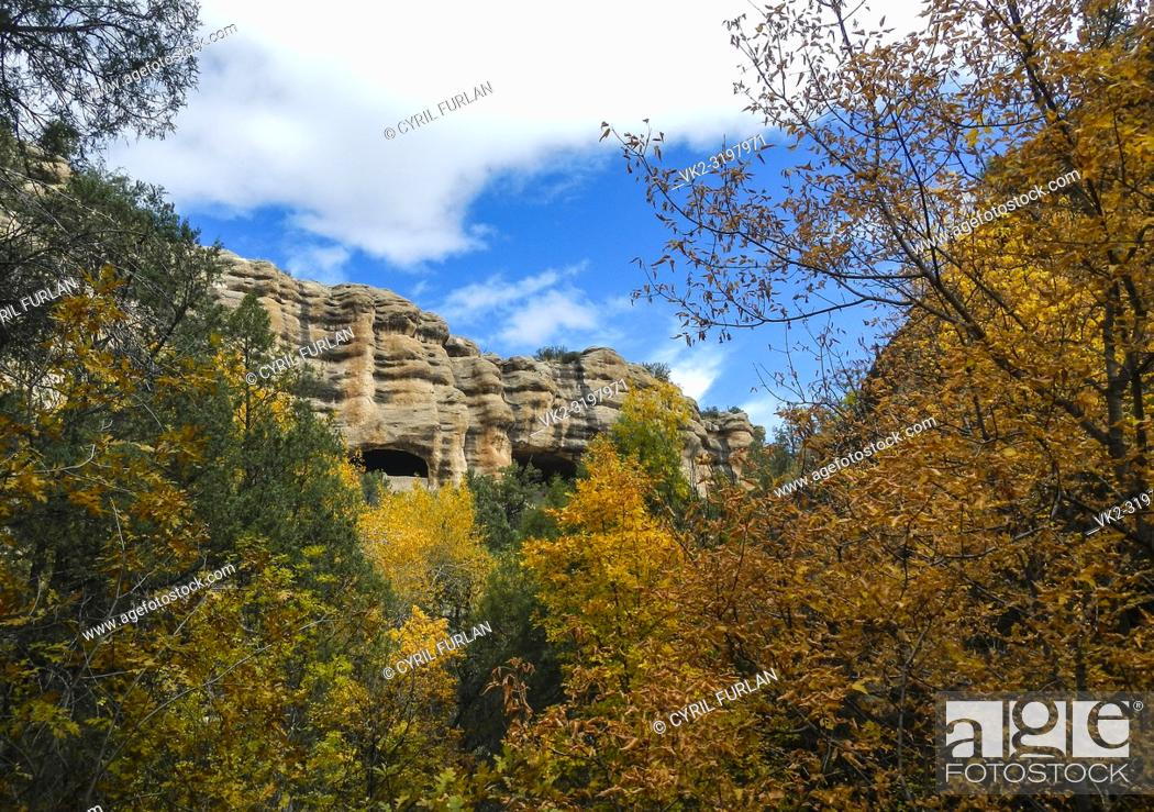 Stock Photo: Two large caves used by ancient indian peoples as dwelling places, New Mexico , Gila National Forest.