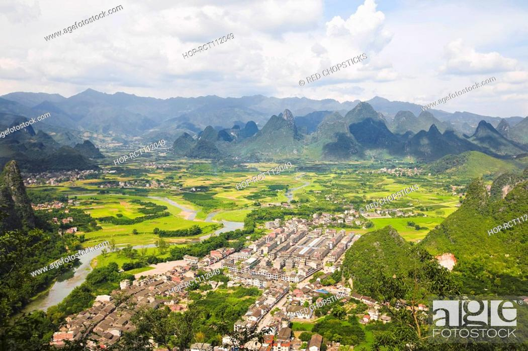 Stock Photo: High angle view of a town, Xingping, Yangshuo, Guangxi Province, China.