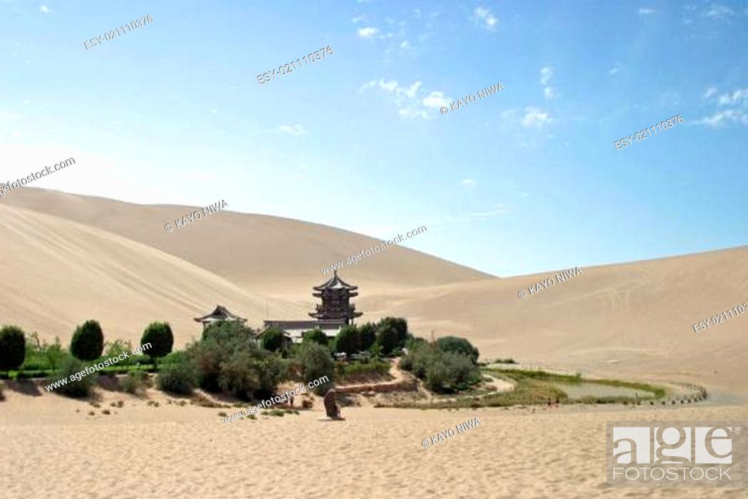 Stock Photo: Crescent lake in Mingsha Shan, Dunhuang, China.