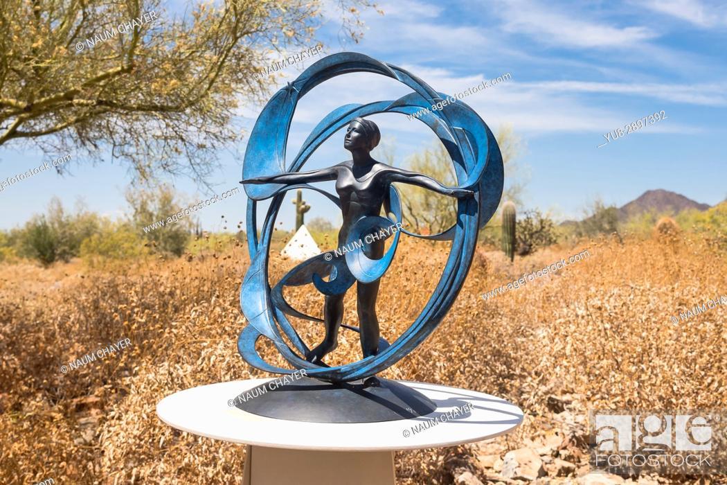 Stock Photo: Sculpture Heloise Crista, Taliesin West architect Frank Lloyd Wright's winter home and school in the desert, Scottsdale, Arizona, USA.