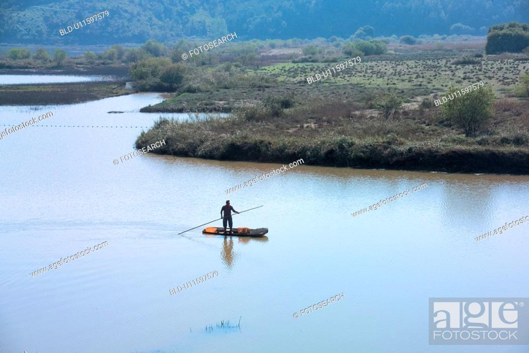 Stock Photo: scenery, ship, river, landscape, nature.
