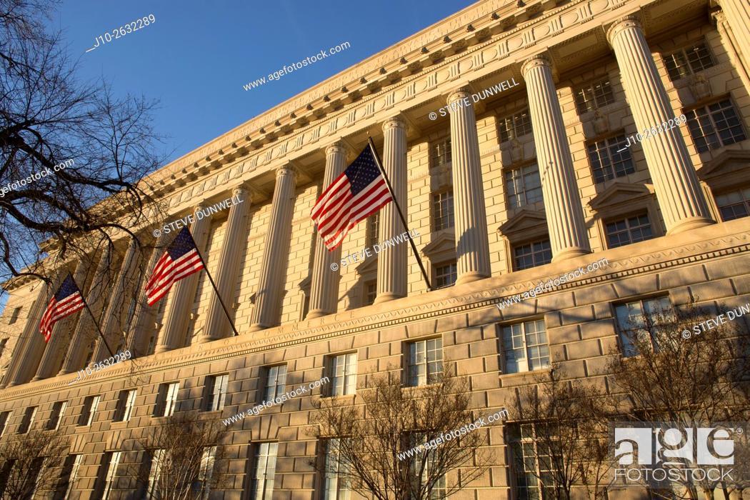 Stock Photo: Dept of Commerce, Constitution Ave. , Washington, DC.