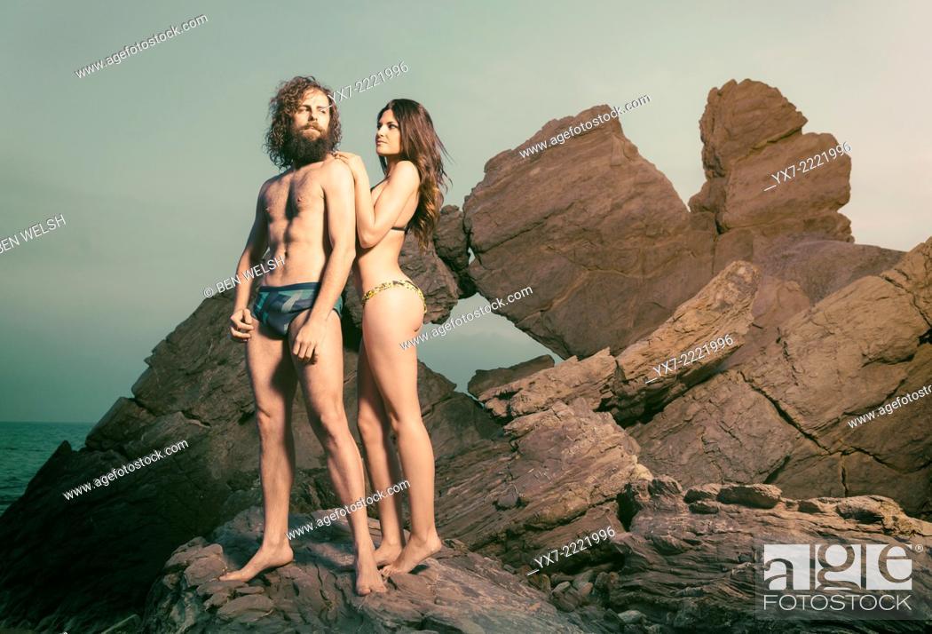 Imagen: Funny couple on the beach. Tarifa, Cadiz, Andalusia, Spain, Europe.