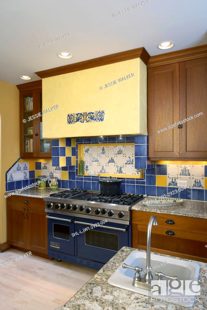 Kitchens View Of Stove Area Yellow Exhaust Hood Decorative Use Of Ceramic Tiles Stock Photo Picture And Rights Managed Image Pic Shl Ljw1 2923 004 Agefotostock