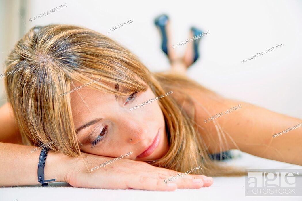 Stock Photo: Woman model resting.