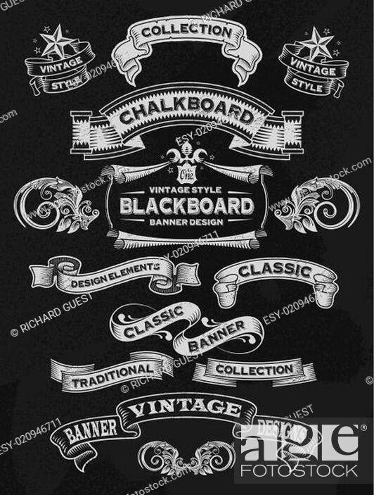 Stock Vector: Hand drawn blackboard banner and ribbon set.