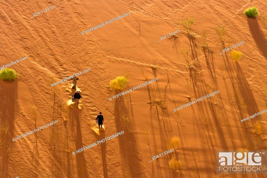 Stock Photo: People running down a red dune in the Dead Vlei in Namibia, Southern Africa.