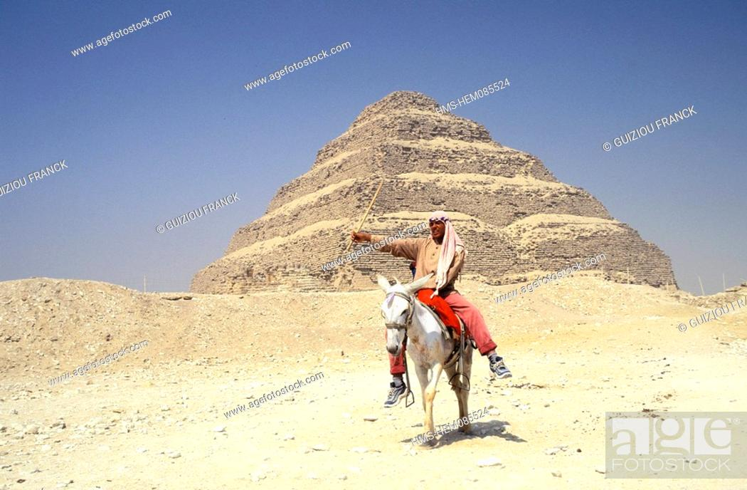 Stock Photo: Egypt, Lower Egypt, Saqqara, listed as World Heritage by UNESCO, the step pyramid of King Djoser Zoser.