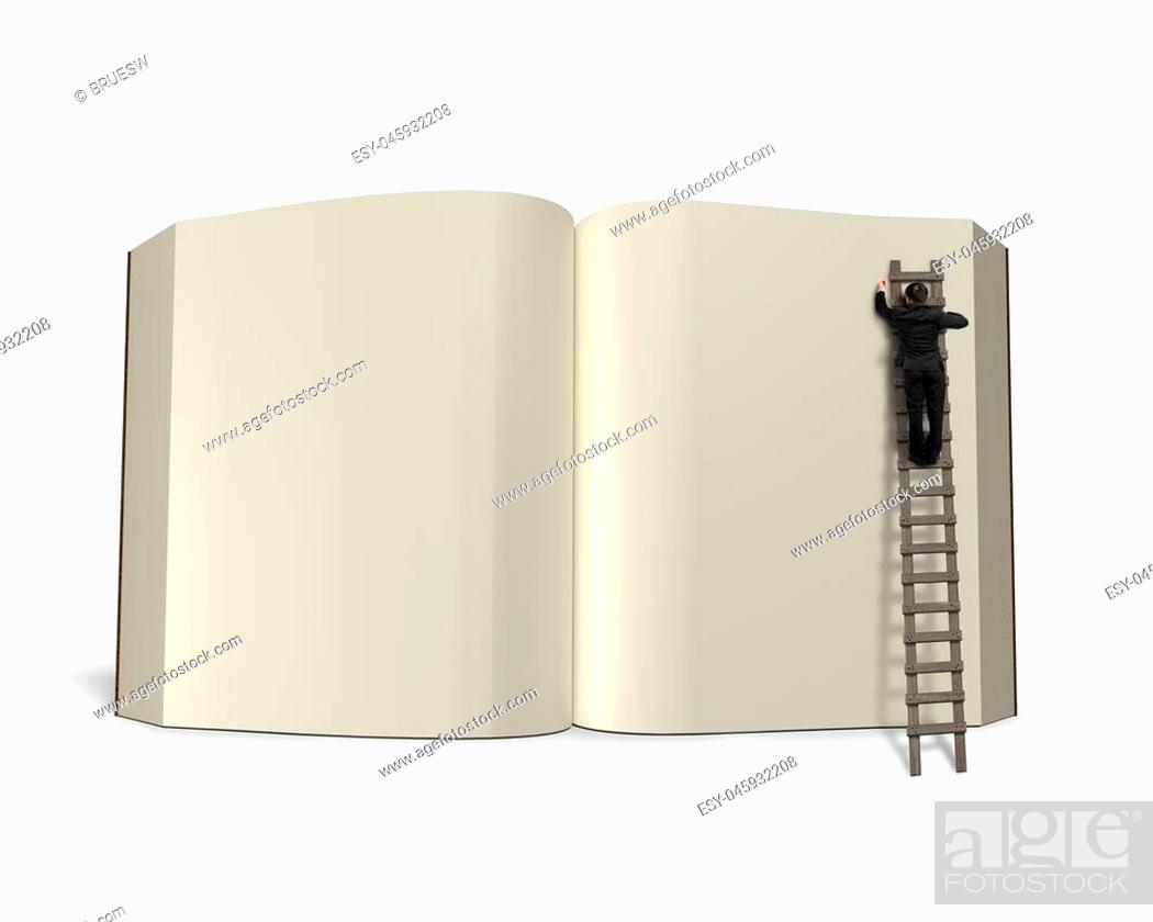 Stock Photo: Writing opening book with wooden ladder isolated in white background, 3D rendering.