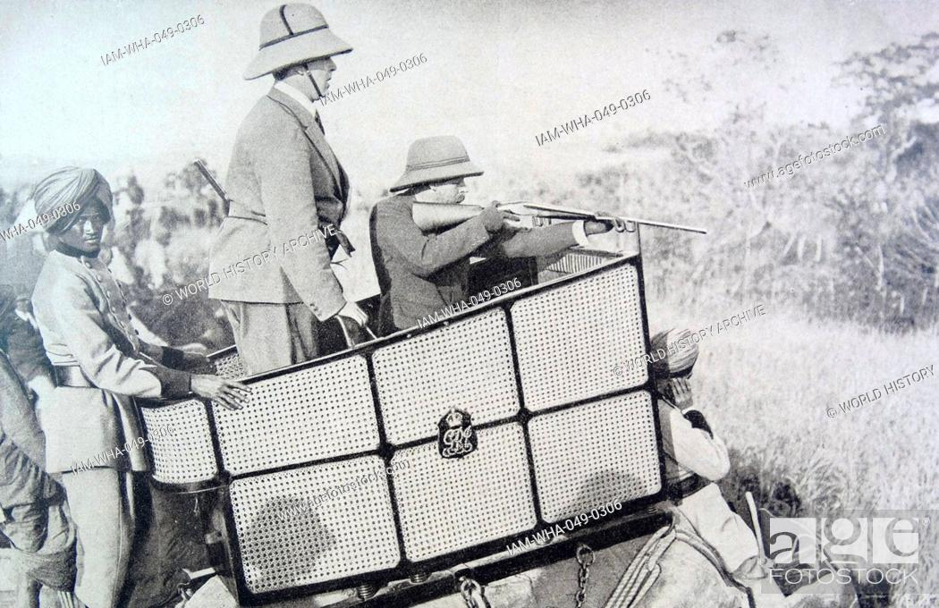 King George V of Great Britain hunting a tiger in India 1911
