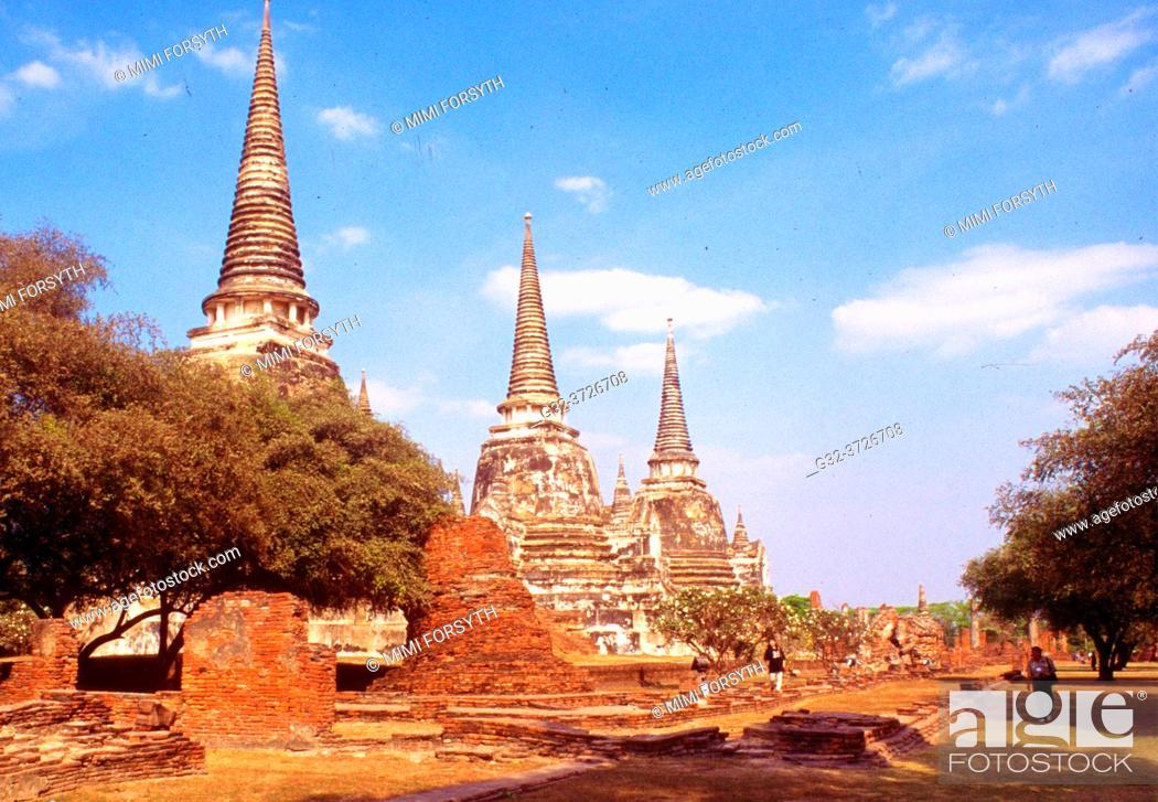 Stock Photo: stupas, ruins, Ayutthaya, Thailand.