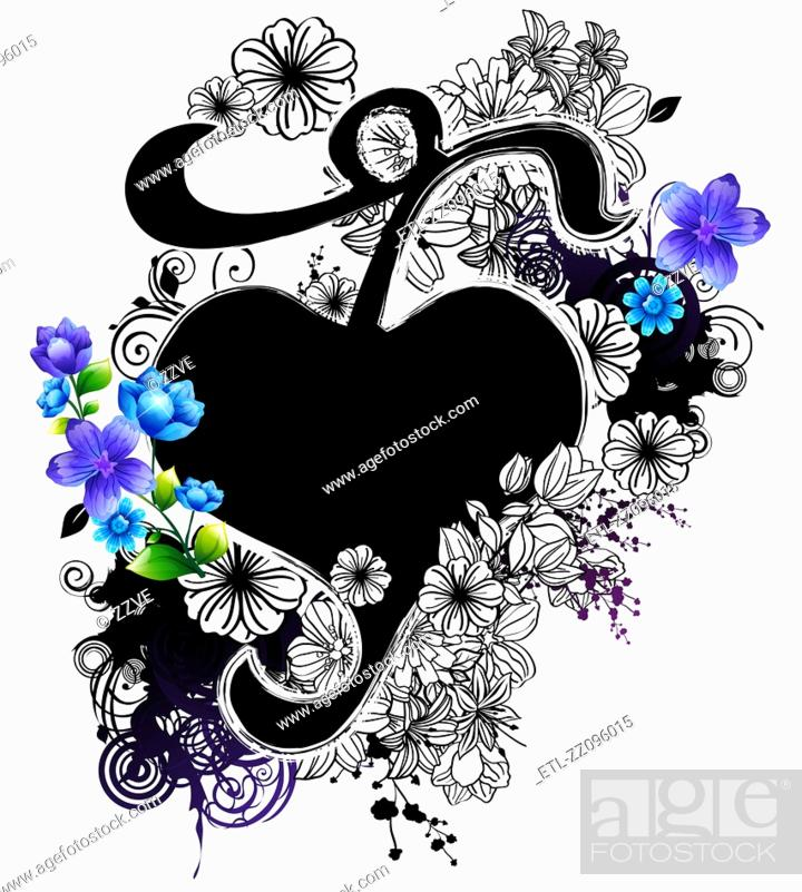 Stock Photo: Heart shape with flora design.