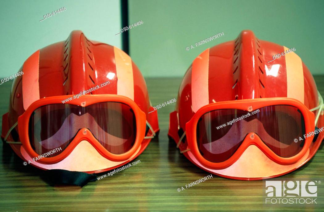 Stock Photo: Fire helmets.