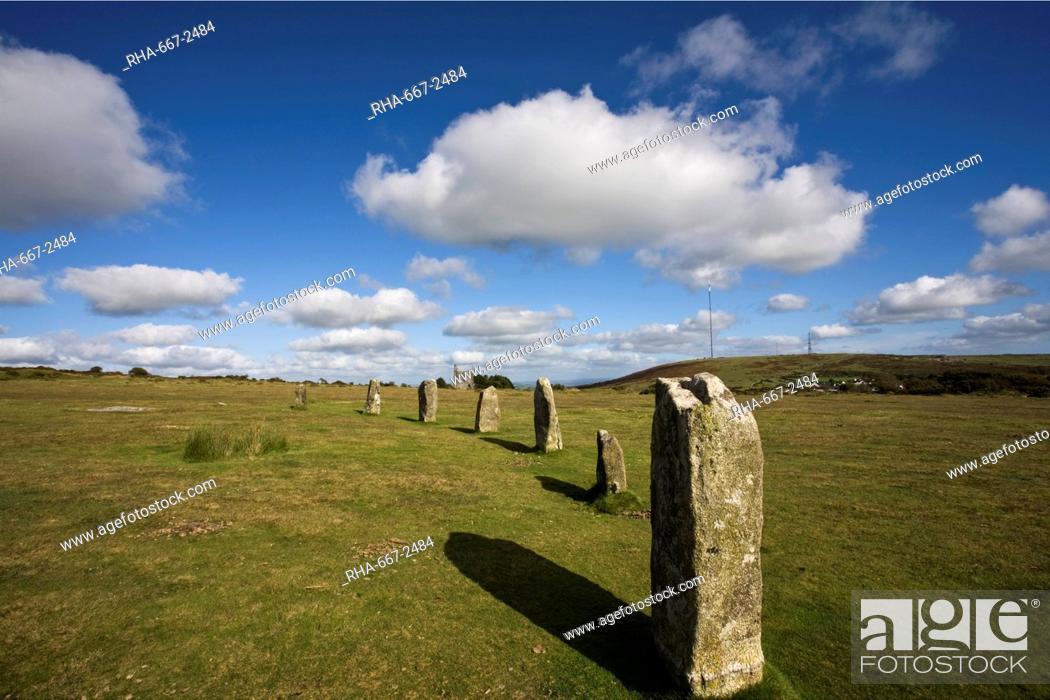 Stock Photo: The Hurlers stone circle, Minions, Bodmin Moor, Cornwall, England, United Kingdom, Europe.