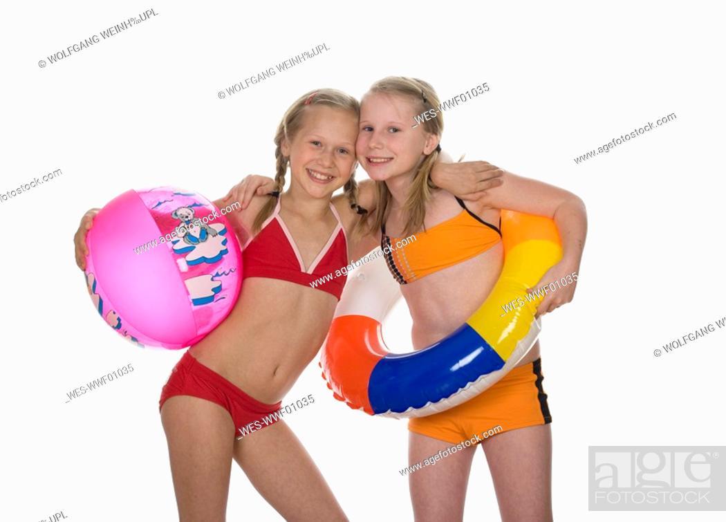 Two girls 10 10 wearing bikini, portrait, Stock Photo, Picture And ...