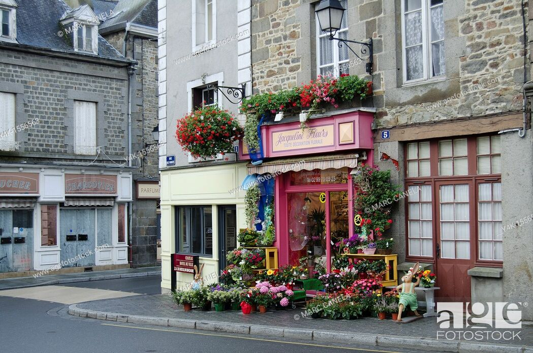 Stock Photo: Europe,France,Bretagne,Brittany Region,Combourg, Street, Typical Shop.