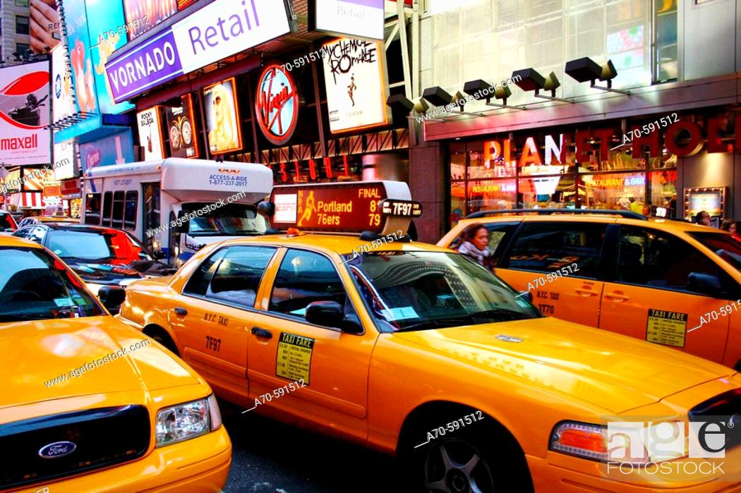 Stock Photo: Taxis on Times Square. New York City. USA.