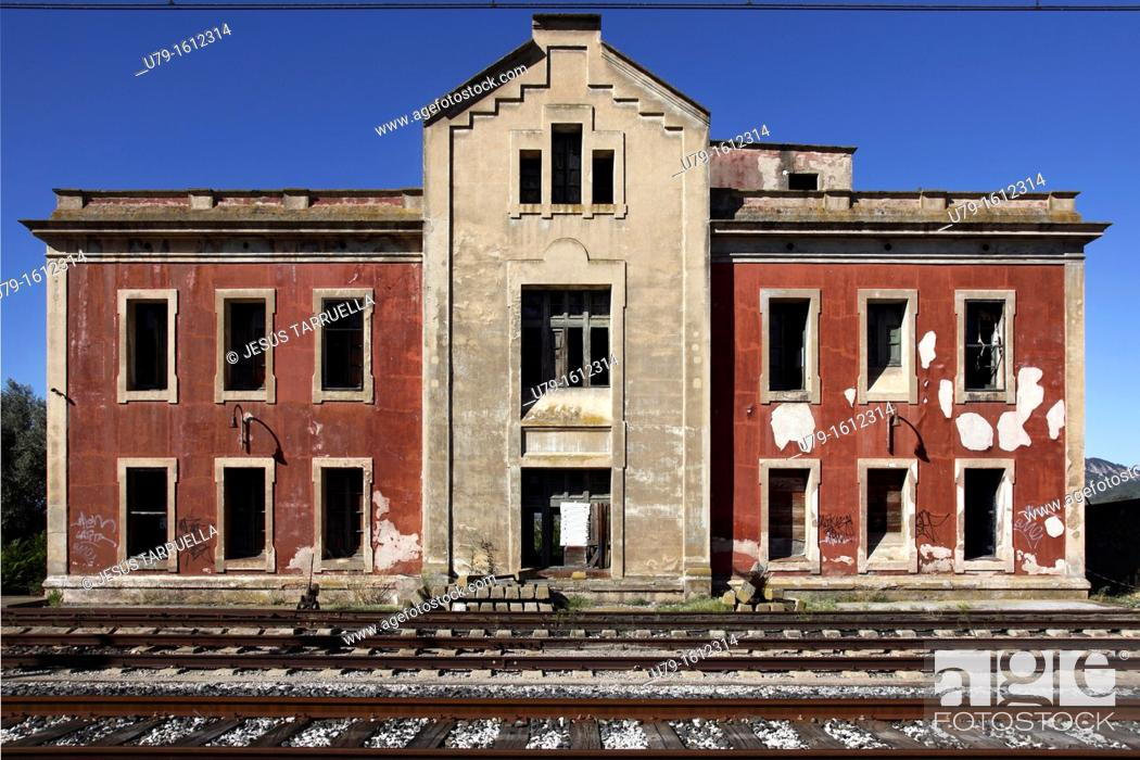 Stock Photo: Railway Station  Mora la Nova, Tarragona, Catalonia, Spain, Europe.