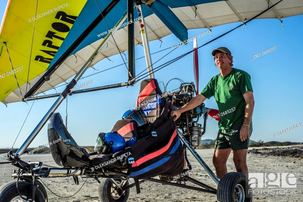 Before flight by ultralight trike at Fly-in competitions on Saturday