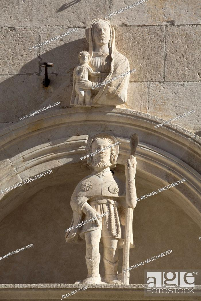 Stock Photo: Detail of scupltures, St. Mark's Square, Korcula Town, Korcula Island, Croatia, Europe.