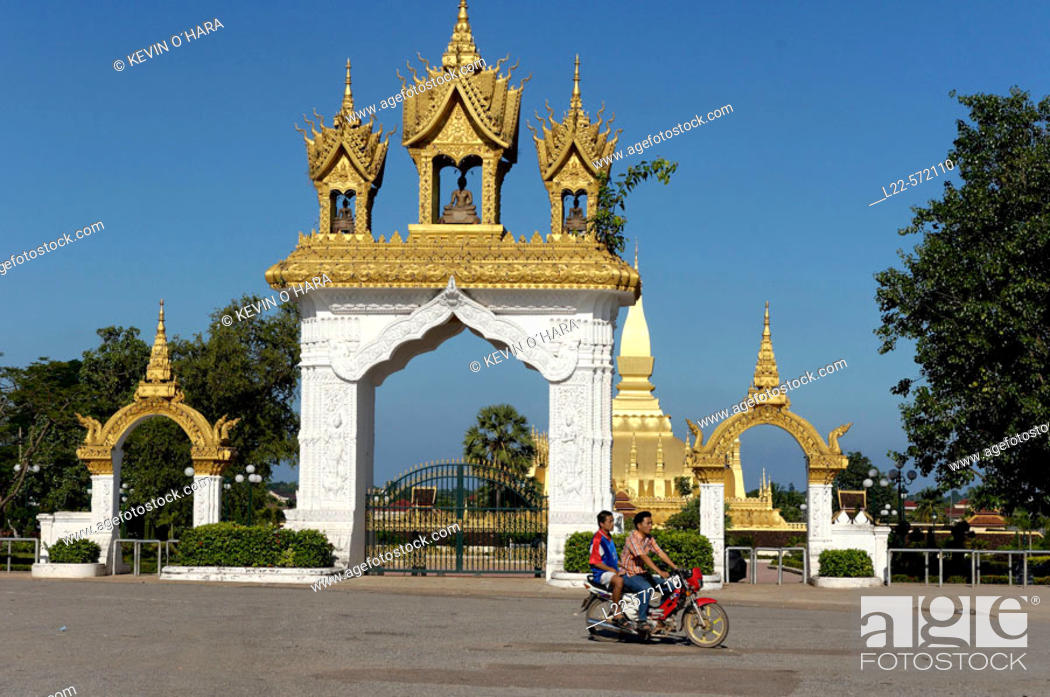 Stock Photo: That Luang stupa is the most impressive and biggest stupa in Laos. Featured on the Lao insignia. This stupa was constructed in 1566 by king Setthathirat.