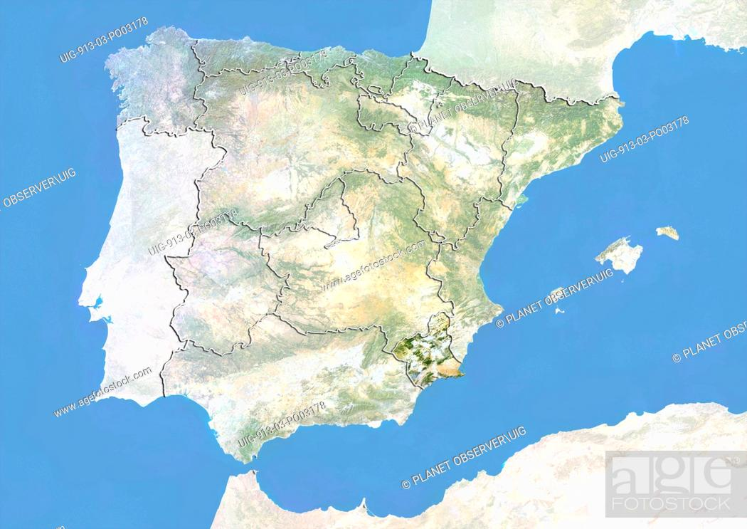 Stock Photo: Satellite view of Spain with bump effect, showing the region of Murcia. This image was compiled from data acquired by LANDSAT 5 & 7 satellites combined with.