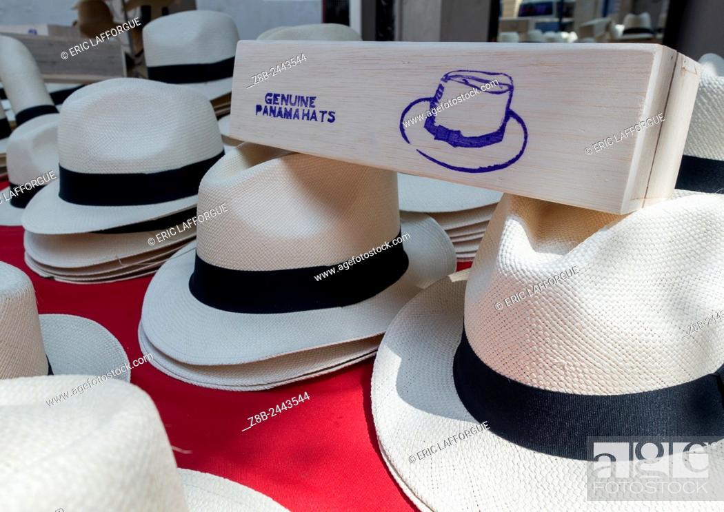 Stock Photo: Panama, Province Of Panama, Panama City, Panama Hats For Sale In A Local Market In Casco Viejo.