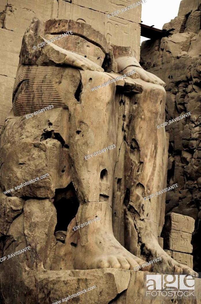 Stock Photo: Ruined statue of Pharaoh at Temple of Amun, Karnak Temple, Egypt.