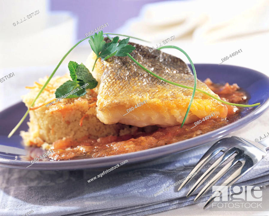 Stock Photo: Fried hakes with couscous of vegetables.