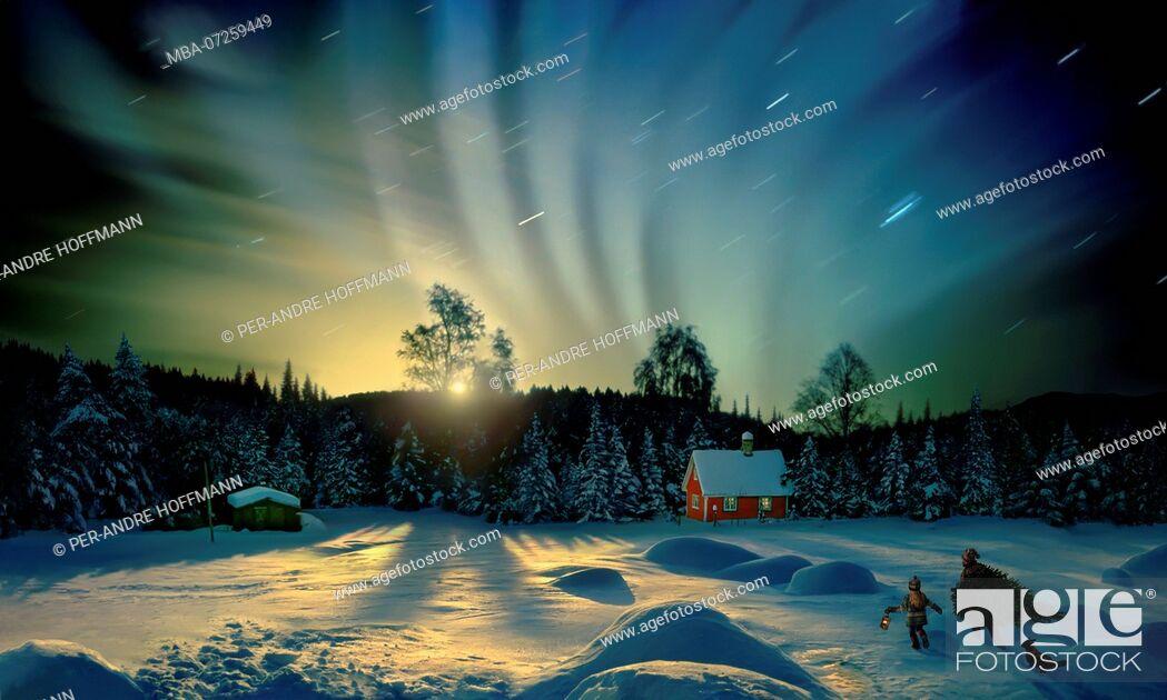 Stock Photo: Northern lights at Lillehammer, Norway, Scandinavia.