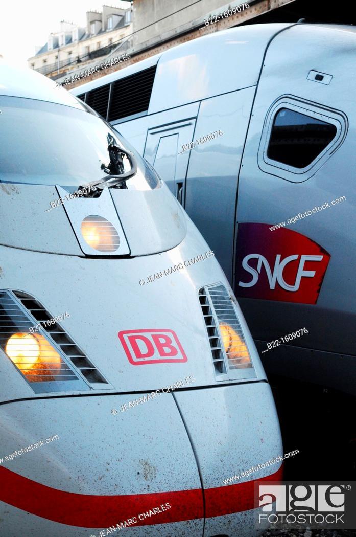 Stock Photo: ICE (Inter-City-Express, German high-speed train) and TGV (Train à Grande Vitesse, French high-speed train), Paris Est, Gare de l'Est, Paris, France.