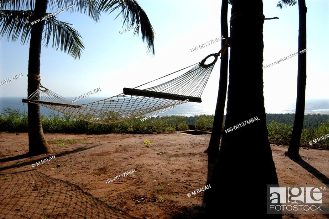 Stock Photo: HAMMOCKS BY THE SIDE OF BEACH, KOVALAM, TRIVANDRUM.