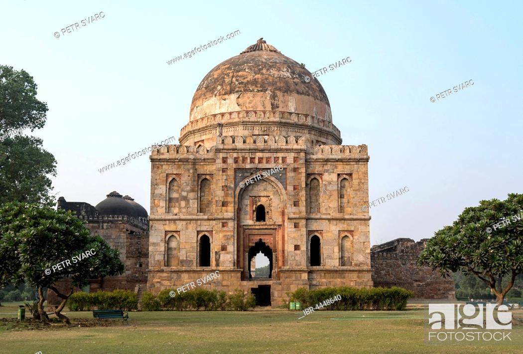 Stock Photo: Bara Gumbad, Lodhi Gardens, New Delhi, India.