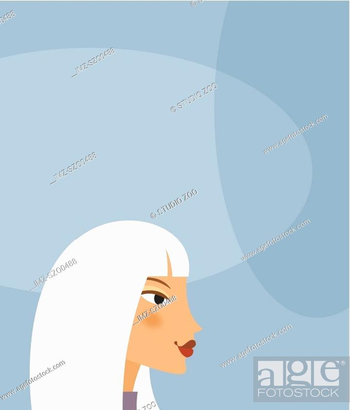 Stock Photo: Womans face on grey blue background.
