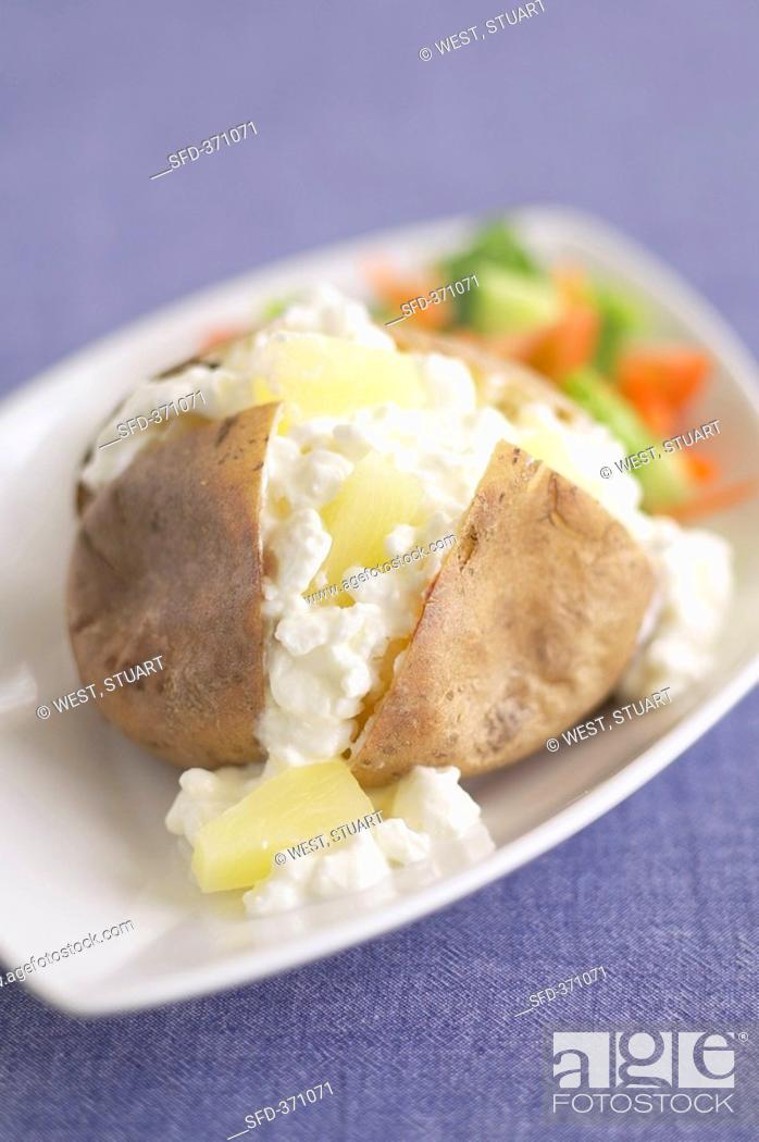 Groovy Baked Potato With Cottage Cheese Stock Photo Picture And Download Free Architecture Designs Scobabritishbridgeorg