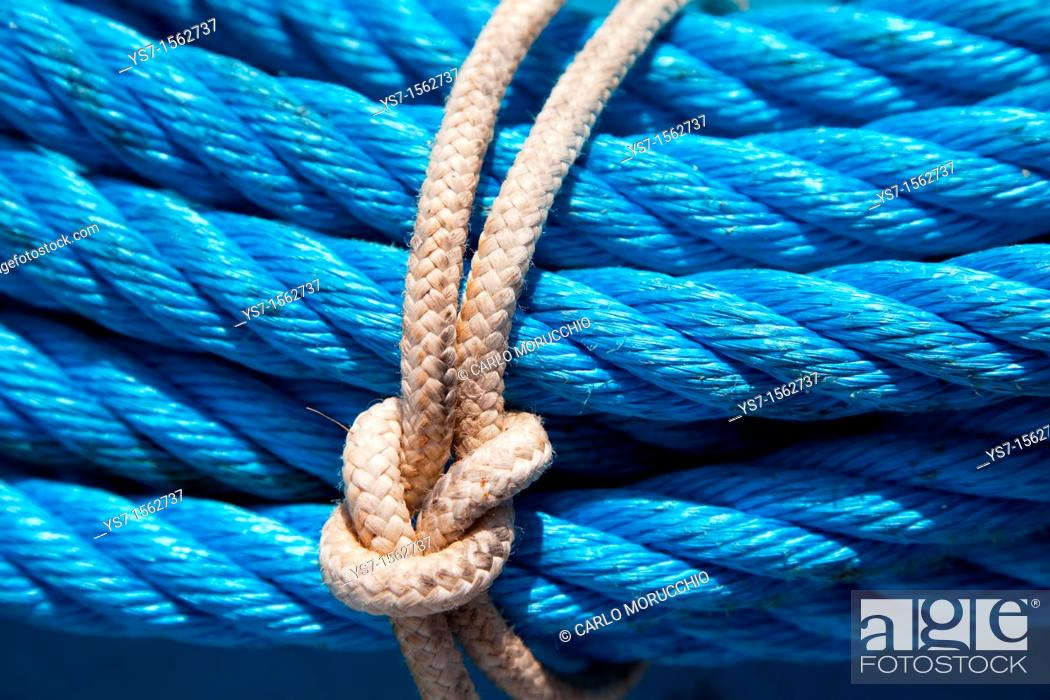 Stock Photo: Ropes on the deck of a trawler in the north Adriatic sea, Chioggia, Venice province, Italy.