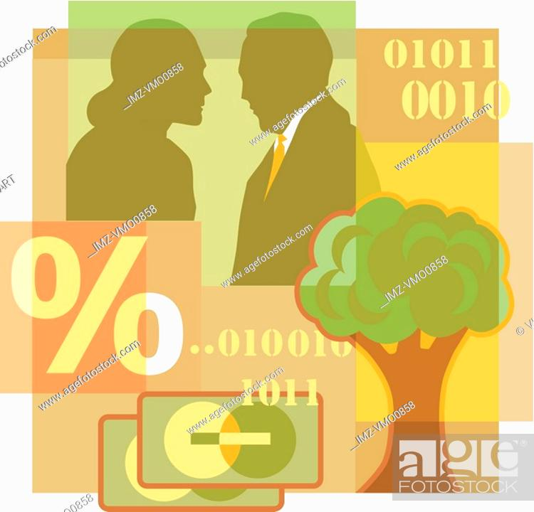 Stock Photo: A montage of a man and woman talking, a tree, percentage sign, credit cards, and computer code.