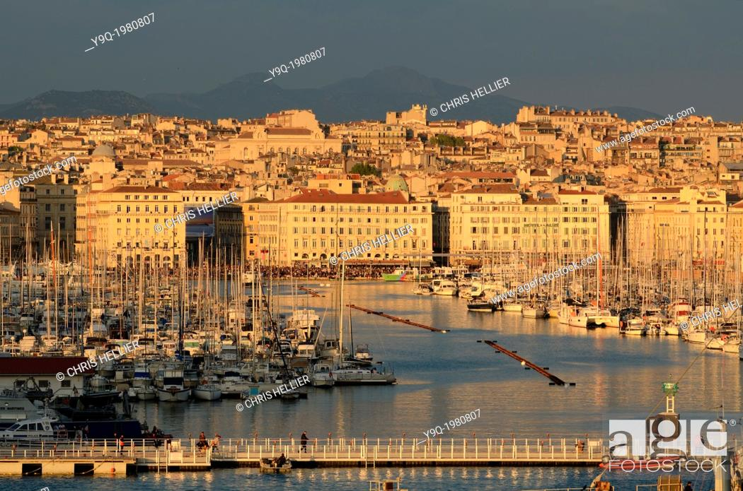 Stock Photo: View of Old Port or Vieux Port at Dusk Marseille France.