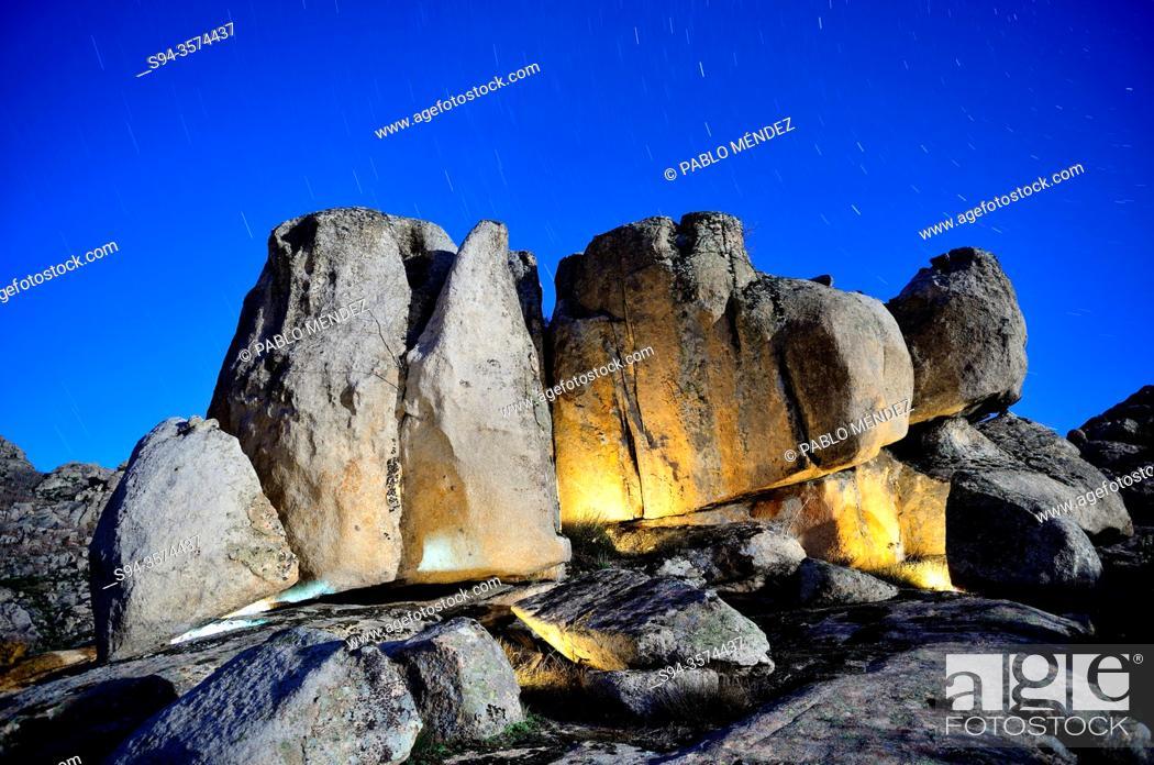 Stock Photo: Big rocks at night, Bustarviejo, Madrid, Spain.
