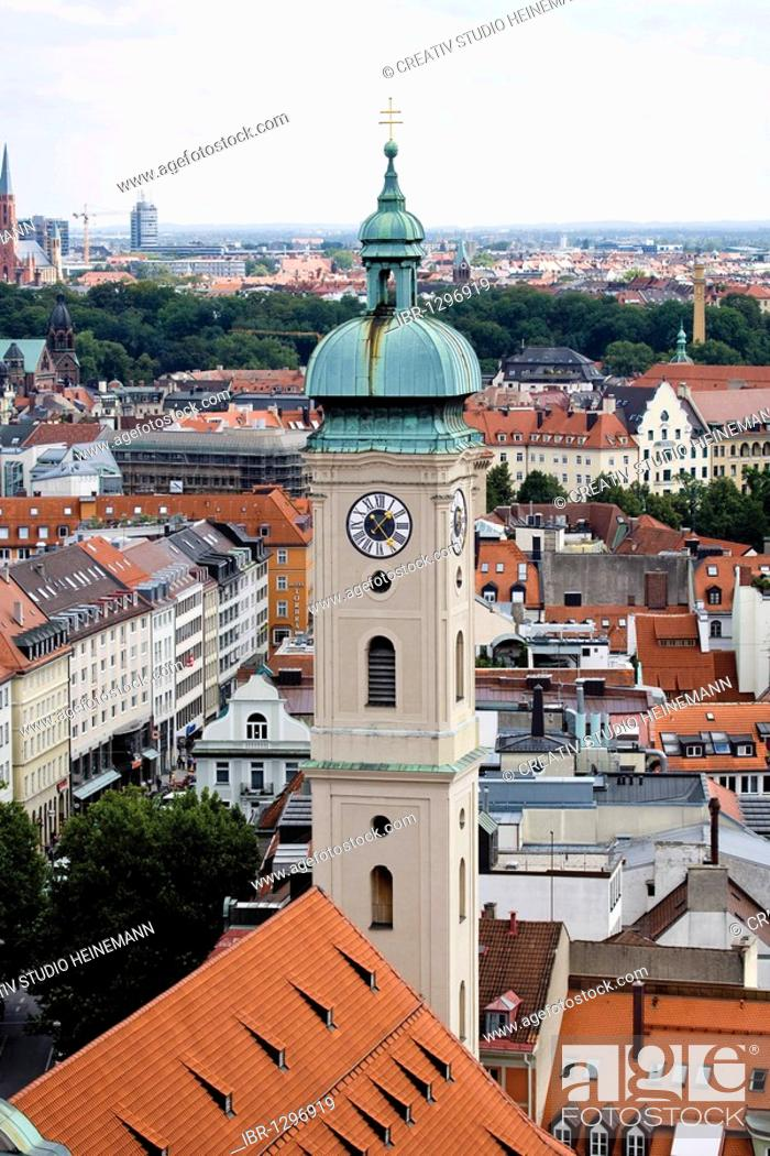 Stock Photo: View of Munich and of the tower of the Heilig-Geist-Kirche church from the Alter Peter church, Munich, Bavaria, Germany, Europe.