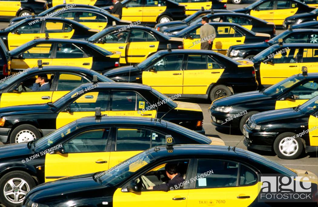Stock Photo: Taxi queue. Barcelona airport. Catalonia. Spain.