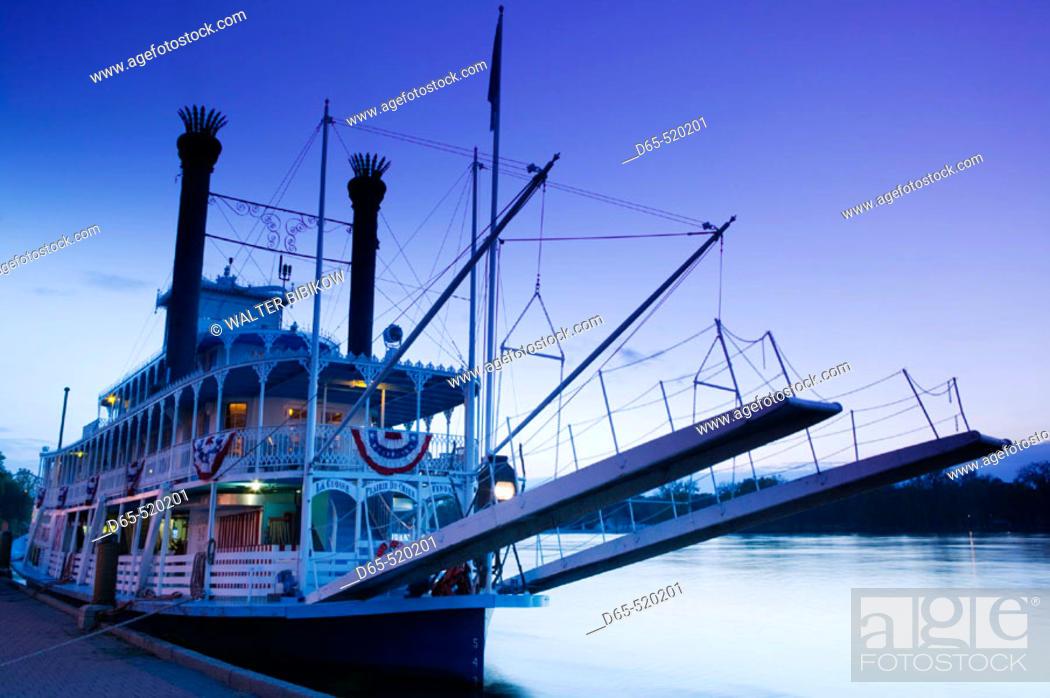 Stock Photo: Paddlewheel Riverboat 'Julia Belle Swain' on the Mississippi River. Evening. La Crosse. Mississippi River Valley. Wisconsin. USA.