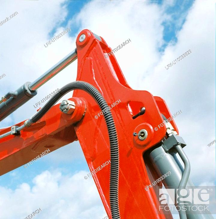 Stock Photo: Digger hydraulic arm.