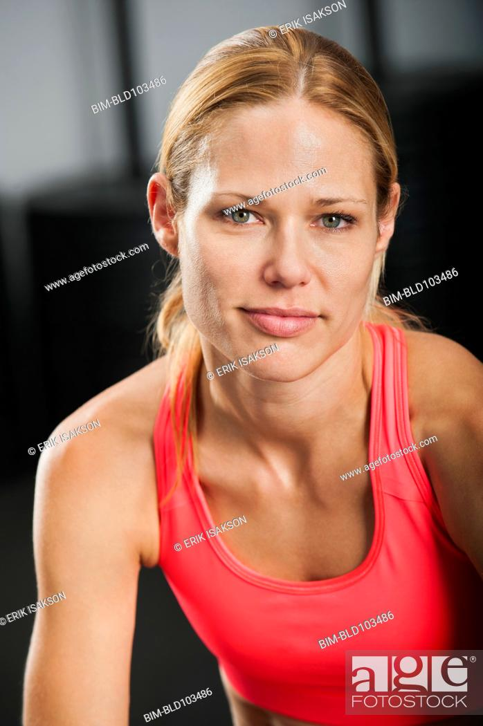 Stock Photo: Smiling Caucasian woman.