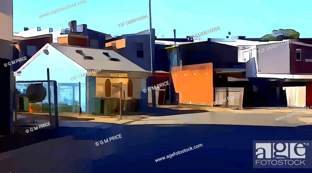 Imagen: watercolour filter view of Neutral Bay lane and rear of brick buildings.